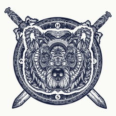 Bear and crossed swords tattoo and t-shirt design. Northern grizzly bear, symbol of force, wild nature, outdoors. Ornamental celtic bear head tattoo