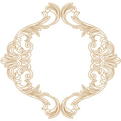 Golden vintage border frame engraving with retro ornament pattern in antique baroque style decorative design. Vector