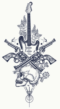 Human skull and electric guitar, revolver, roses and music notes tattoo and t-shirt design. Rock and roll t-shirt design. Symbol of rock music, musical festivals. Electric guitar tattoo art print