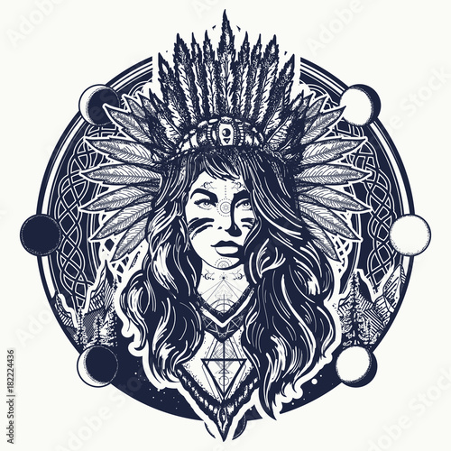 Tribal Indian Woman And Mountains Tattoo And T Shirt Design Native