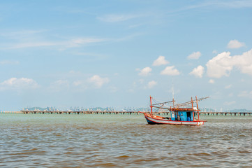 Thai traditional wooden fishing boat in Siam gulf