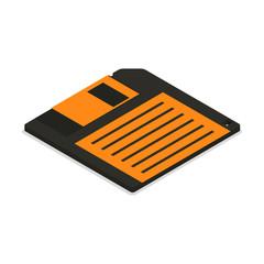 Floppy disk icon in 3d isometric, vector illustration.