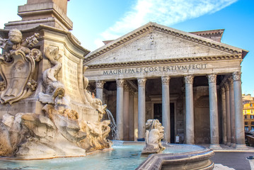 Ancient Roman Pantheon temple, view from fountain - Rome, Italy