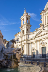 Fountain of the Four Rivers and Sant'Agnese in Agone church on the Piazza Navona, Rome