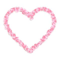 Pink sakura petals heart isolated. EPS 10 vector