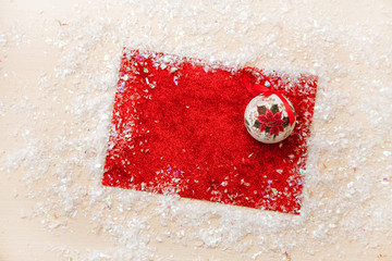 Christmas background xmas sparkle lights red canvas background Merry card Winter holiday New Year Space text