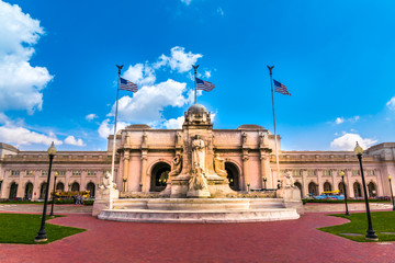 Washington DC - June 6, 2017: Union Station at columbus circle with Christopher Columbus Memorial Fountain in Washington D.C.