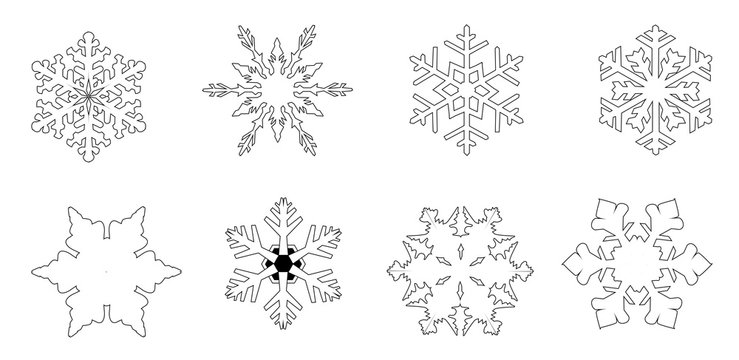 Isolated White Snowflake Collection