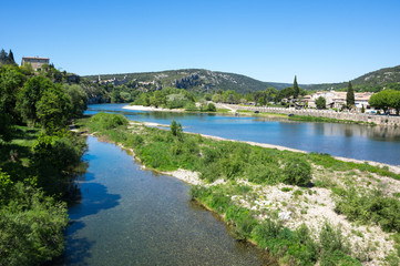 Panoramic view of Ardeche river
