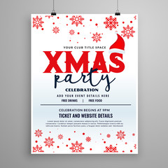 christmas party flyer design with santa claus cap and snow flakes