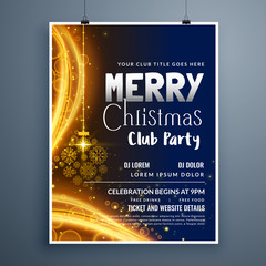 awesome christmas party poster template design with hanging snowflakes ball