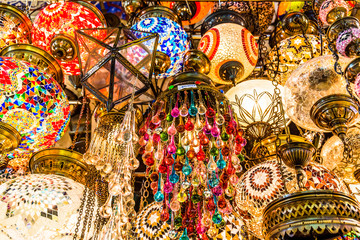 Traditional handmade decorative mosaic Turkish lamps for sale