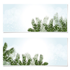 New Year Christmas. Flyer, business cards, postcards. invitations to the sale. Green tree branches in the snow. Isolated Illustration