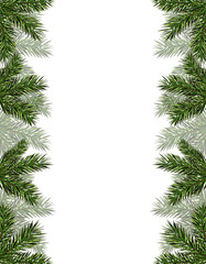 New Year Christmas. Flyer, business cards, cards, invitations. Green branches of trees on both sides. illustration
