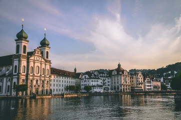 Lucerne Jesuit Church and view of waterfront