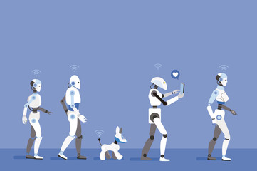 Android Robots Walking with Blue Background