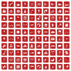 100 nursery icons set grunge red