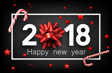 Grey 2018 happy new year background.