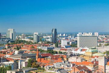 Zagreb down town skyline and modern business towers panoramic view, Croatia capital