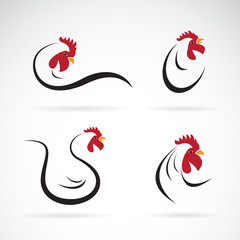 Vector of an chicken design on white background. Farm Animals. Rooster logo. Cock.