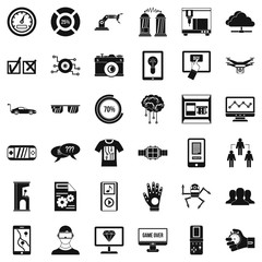 Touching icons set, simple style