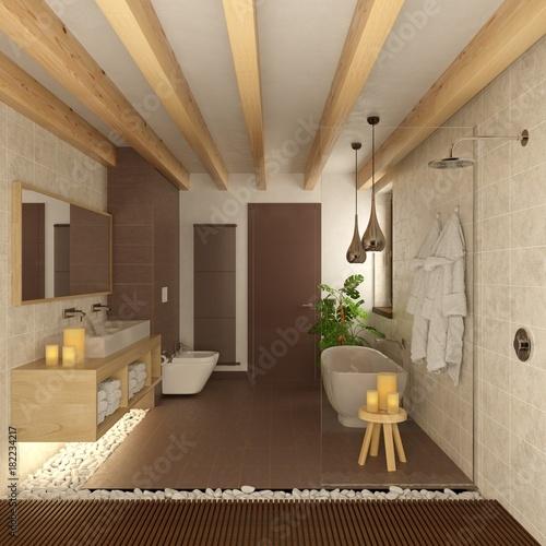 Bagno con candele travi in legno e sassi bianchi zen - Candele per bagno ...