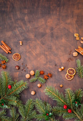 Christmas Decoration With Candied Oranges , Gingerbread, Spices And Christmas Tree