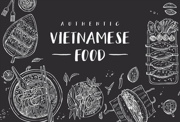 Hand drawn top view traditional Vietnamese food on a black board, Vector Illustration