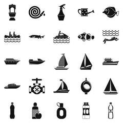 Backwash icons set, simple style