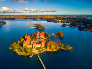 Beautiful drone landscape image of Trakai castle