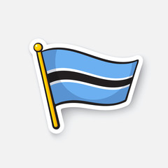 Vector illustration. Flag of Botswana. Countries in Africa. Location symbol for travelers. Isolated on white background. Cartoon sticker with contour. Decoration for greeting cards, patches, prints
