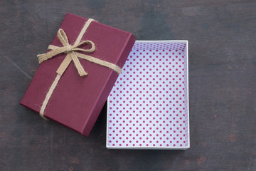 Open vintage red gift box