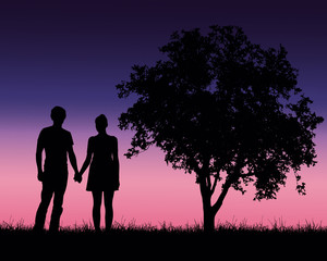 Realistic illustration of a silhouette of a loved man and woman on a romantic stroll through a landscape with trees under a blue sky with dawn