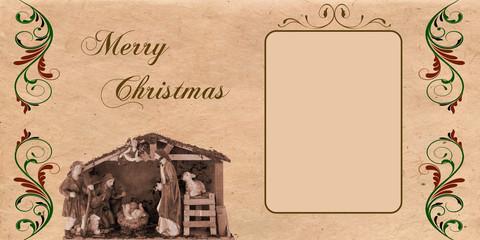 Felicitación de Navidad imitando el diseño del siglo pasado.