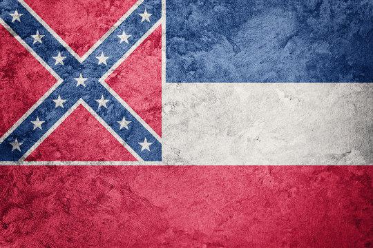 Grunge Mississippi state flag. Mississippi flag background grunge texture.