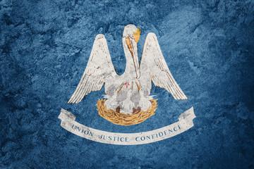 Grunge Louisiana state flag. Louisiana flag background grunge texture.