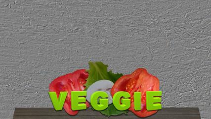 Gemüse mit dem Text Veggie auf einem Holzbrett