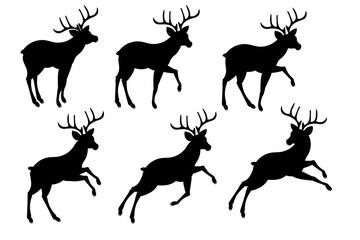 Deer stencil, pattern for santa claus harness, christmas decor .Vector illustration.
