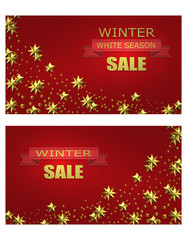 New Year Christmas. Flyer, business cards, postcards. invitations to the winter sale. Brilliant golden stars. A ribbon with an inscription. illustration