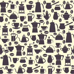 Seamless pattern collection icons Coffee Pots with Cups, coffee mill, turkish.