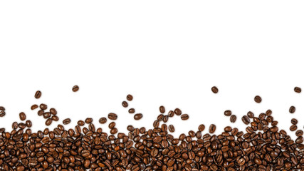The overlay of coffee beans, isolated with clipping path on white background with shadow