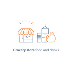 Store food and drink order, grocery special offer promotion, checklist and clipboard vector line icon