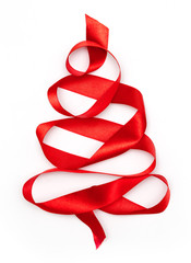 Christmas tree from red ribbon tape isolated on a white background
