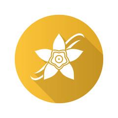 Vanilla flower flat design long shadow glyph icon