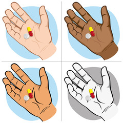 Illustration represents an open human hand with medicines in the palm of the sample, ethnics. Ideal for catalogs of institutional and medical material