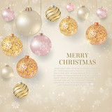 Christmas Background With Light Baubles Elegant Gold And White Evening Balls