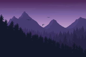 Vector illustration of mountain landscape with forest under purple night sky with clouds and flying birds