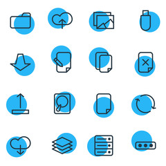 Vector Illustration Of 16 Storage Outline Icons. Editable Set Of Arrow Up, Layer, Upload And Other Elements.