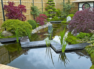 A traditional Japanese water garden