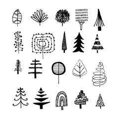 Doodle trees. Hand-drawn plants. Illustration